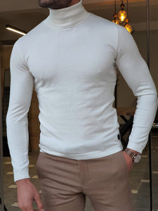 Harrison Slim Fit Ecru Turtleneck Woolen  Knitwear