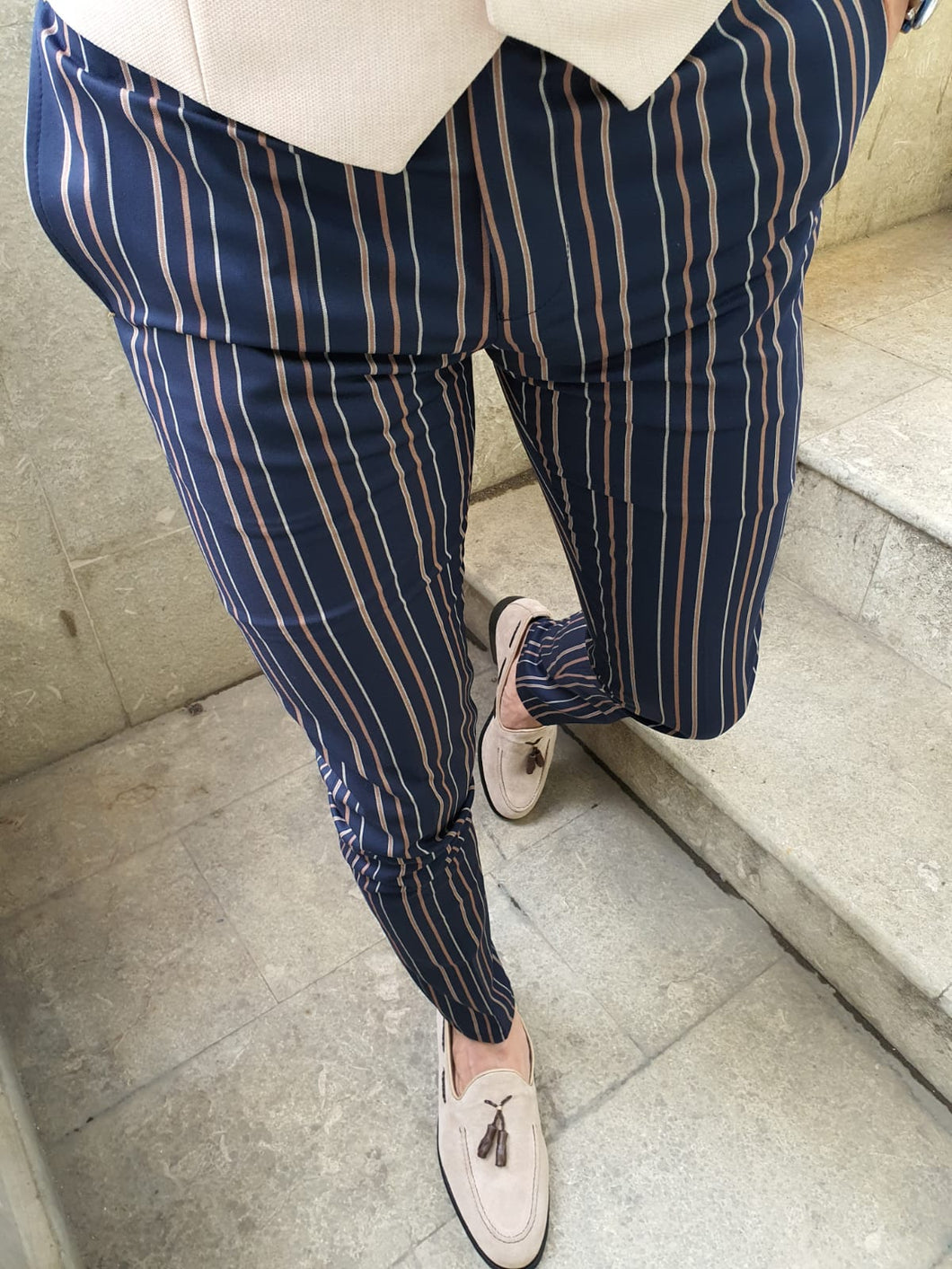 Bernard Slim Fit Striped Dark Blue & Camel Pants