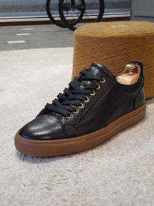 Ralph Sardinelli Eva Sole Black Lace Up Leather Sneakers