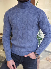 Load image into Gallery viewer, Ed Indigo Slim Fit Patterned Turtleneck