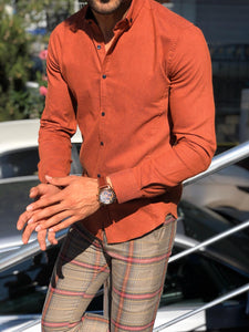 Marc Slim Fit Orange Patterned Shirt