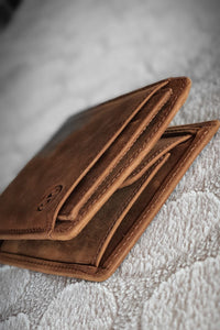 Sardinelli Hidden Card Section Tan Leather Wallet