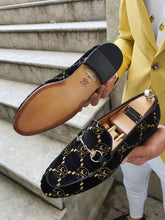 Load image into Gallery viewer, Genova Embroided Velvet Buckled Black Loafers
