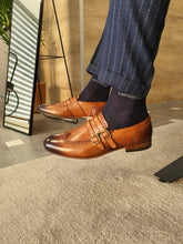 Load image into Gallery viewer, Verno Special Sardinelli Double Buckled Tan Leather Shoes