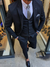 Load image into Gallery viewer, Harringate Slim Fit Striped Black Suit