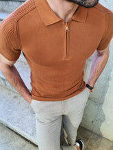 Load image into Gallery viewer, Lance Slim Fit Zippered Collar Short Sleeve Tobacco Tees