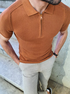 Lance Slim Fit Zippered Collar Short Sleeve Tobacco Tees