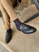 Load image into Gallery viewer, Heritage Sardinelli Buckled Detail Dark Blue Leather Shoes