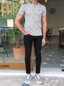 Harold Slim Fit Patterned Grey Polo