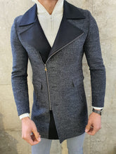 Load image into Gallery viewer, Lance Anthracite Slim Fit Zippered Woolen Coat