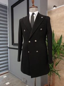 Logan Slim Fit Special Edition Double Breasted Woolen Black Coat