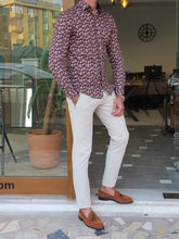 Load image into Gallery viewer, Vince Slim Fit Patterned Brown Cotton Shirt