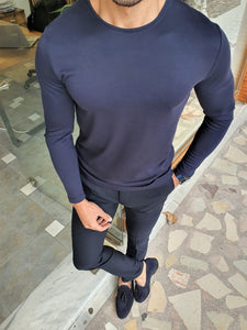 Harrison Slim Fit Long Sleeve Navy Combed Tees