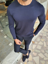 Load image into Gallery viewer, Harrison Slim Fit Long Sleeve Navy Combed Tees