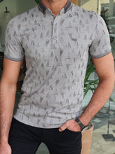 Load image into Gallery viewer, Harold Slim Fit Patterned Grey Polo