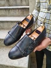 Load image into Gallery viewer, Shelton Black Sardinelli Three Buckled Black Leather Shoes