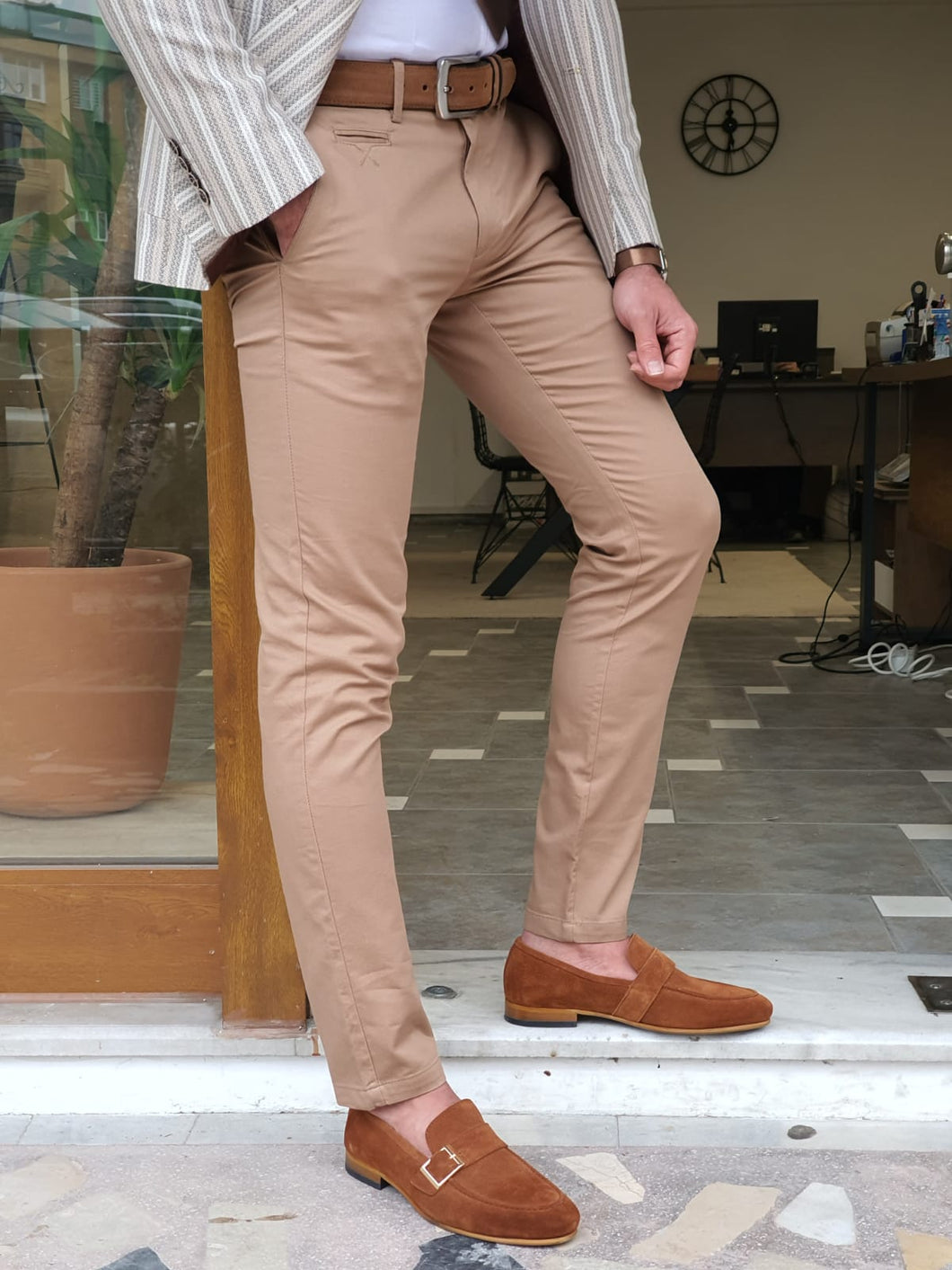 Vince Slim Fit Special Edition Side Pocket Camel Cotton Pants