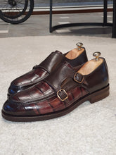 Load image into Gallery viewer, Ralph Sardinelli Special Edition Double Buckle Croc Brown Leather Shoes