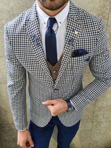 Lance Slim Fit Check Navy Suit