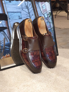 Ralph Sardinelli Special Edition Double Buckle Croc Brown Leather Shoes