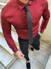 Load image into Gallery viewer, Shleton Sardinelli Burgundy Custom Made Slim Shirt