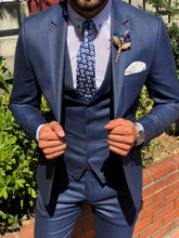 Load image into Gallery viewer, MCR Shine Navy Slim Fit Plaid Suit