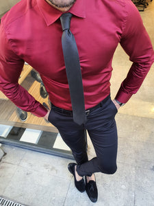 Shleton Sardinelli Burgundy Custom Made Slim Shirt