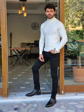 Load image into Gallery viewer, Harrison Slim Fit Half Ecru Turtleneck Knitwear