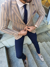 Load image into Gallery viewer, Shleton Slim Fit Beige Striped Blazer