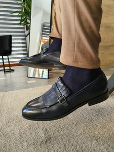 Heritage Sardinelli Buckled Detail Dark Blue Leather Shoes