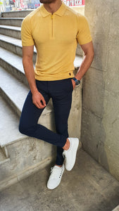 Lance Slim fit Zippered Short Sleeve Yellow Knitwear