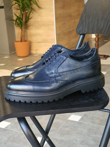 Erie Sardinelli Eva Sole Navy Blue Leather Shoes