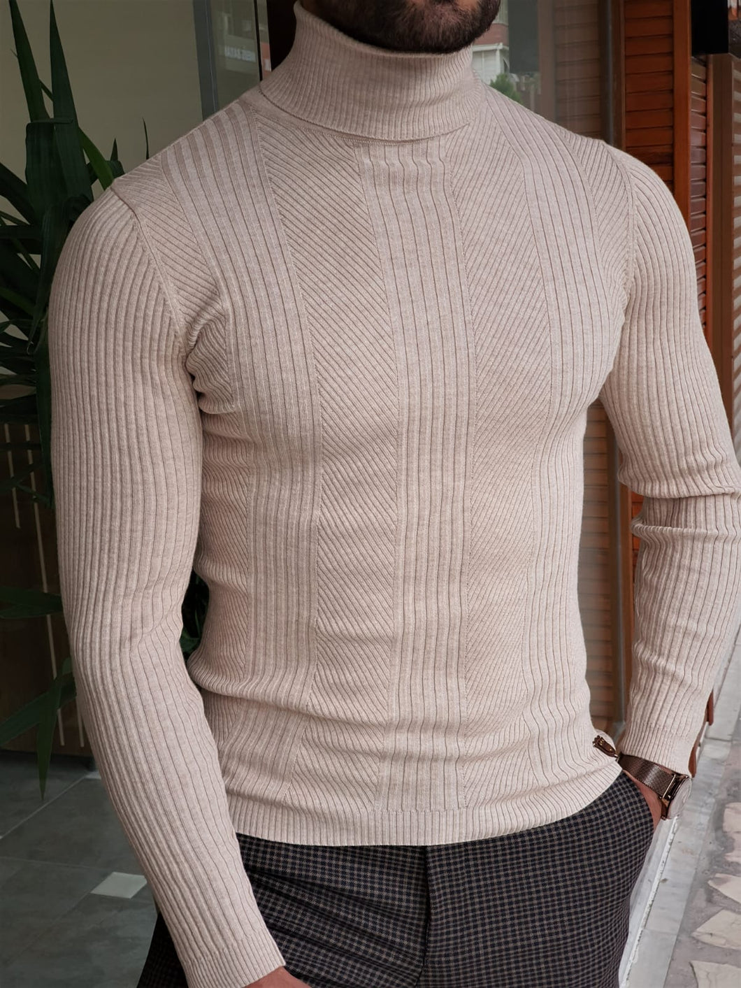 Harrison Slim Fit Striped Beige Turtleneck