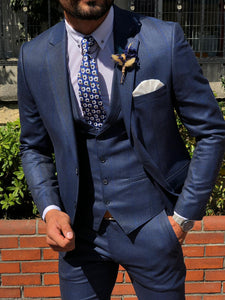 MCR Shine Navy Slim Fit Plaid Suit