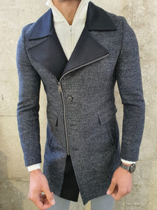Lance Anthracite Slim Fit Zippered Woolen Coat