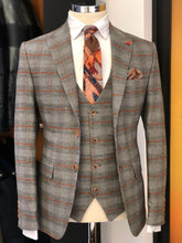 Load image into Gallery viewer, Abboud Gray Plaid Slim Suit