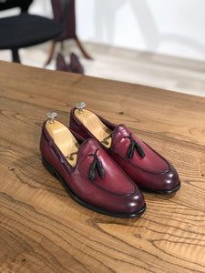 Tasseled Leather Claret Red Loafers