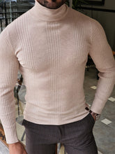 Load image into Gallery viewer, Harrison Slim Fit Striped Beige Turtleneck