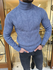 Ed Indigo Slim Fit Patterned Turtleneck