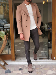 Erie Slim Fit Special Edition Double Breasted Woolen Beige Coat