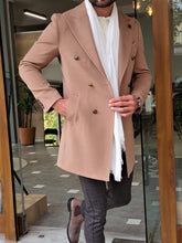 Load image into Gallery viewer, Erie Slim Fit Special Edition Double Breasted Woolen Beige Coat