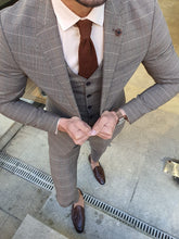 Load image into Gallery viewer, Shleton Slim Fit Camel Plaid Suit