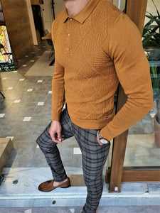 Mason Slim Fit Camel Polo Knitwear