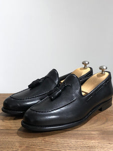 Tasseled Leather Black Loafers