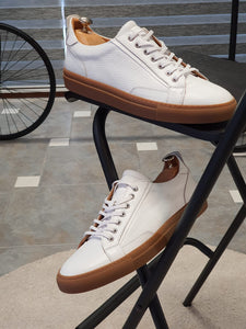 Ralph Sardinelli Eva Sole Lace Up White Leather Sneakers