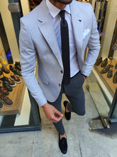 Load image into Gallery viewer, Harringate Slim Fit Grey Cotton Blazer