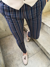 Load image into Gallery viewer, Bernard Slim Fit Striped Dark Blue & Camel Pants