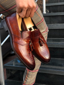 Special Edition Sardinelli Tasseled Tan Leather Detailed Shoes