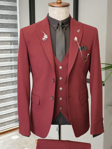 Ralph Slim Fit Bi-Stretch Claret Red Suit