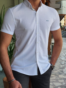 Vince Slim Fit Patterned Short Sleeve White Shirt